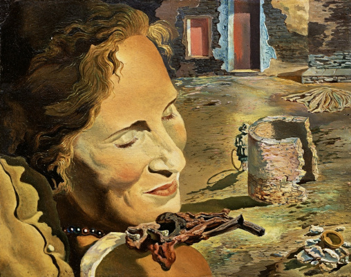 Salvador Dali. Portrait of Gala with two lamb ribs balancing on her shoulder