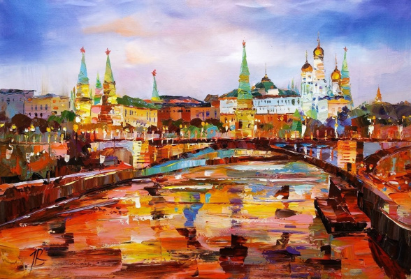 Jose Rodriguez. View of the Kremlin through the Big Stone Bridge. Evening