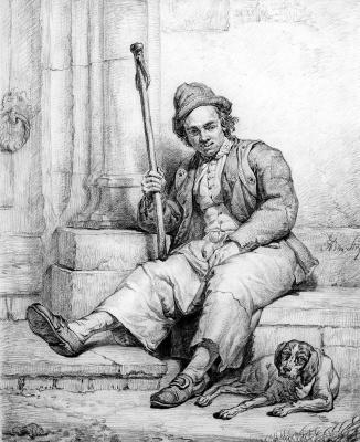 Абрахам ван Стрий. Сидящий человек с собакой