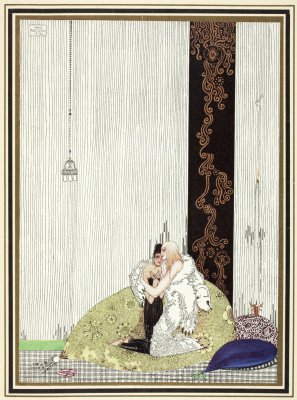 """Kay Nielsen. Harmony in the skin of a bear and the daughter of the king of Arabia. Illustration of the collection of fairy tales """"East of the sun West of the moon"""""""