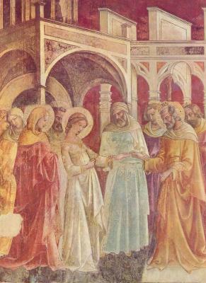 Лоренцо Монако. Фрески капеллы Бартолини Санта Тринита во Флоренции, сцена: Обручение Девы Марии, деталь