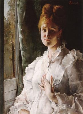 Alfred Emil-Leopold Stevens. Portrait of woman in white