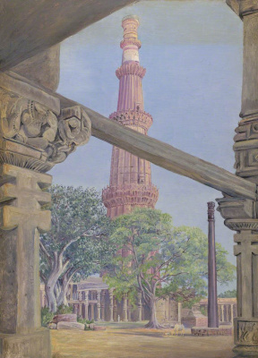 Marianna North. Qutub and Iron Column, Delhi, India