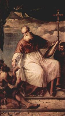 Titian Vecelli. SV. John the Evangelist and begging