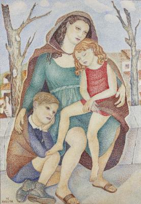Мария Брониславовна (Воробьева-Стебельская) Маревна. Мать с детьми.1942