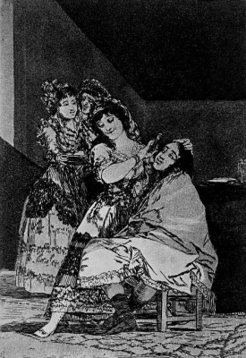 """Francisco Goya. """"She shaves it smoothly"""" (Series """"Caprichos"""", page 35)"""