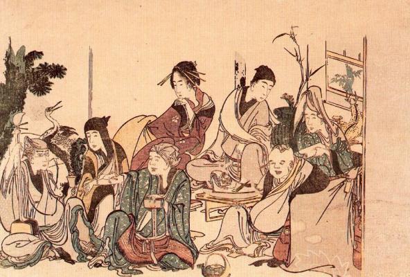 Katsushika Hokusai. Seven gods