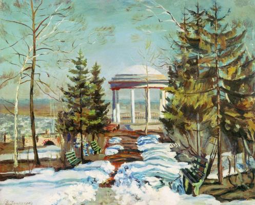 Станислав Юлианович Жуковский. Ранняя весна. Беседка в парке