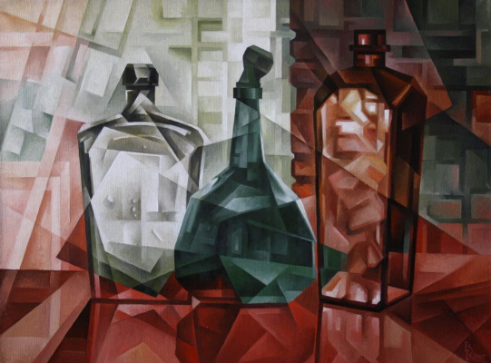 Vasily Krotkov. The old bottle. Kubofuturizm