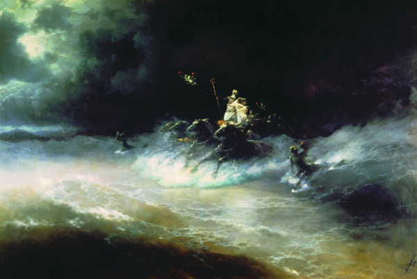 Ivan Aivazovsky. Travel of Poseidon by sea