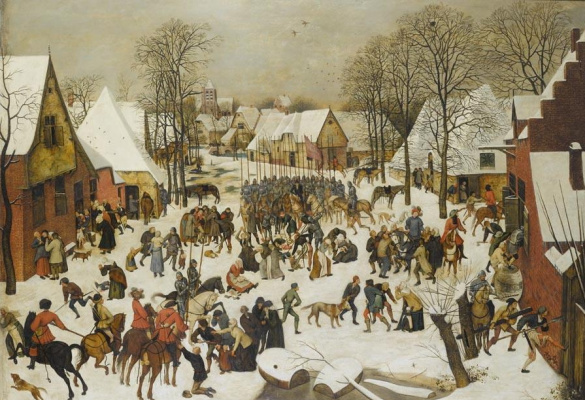 Peter Brueghel The Younger. The massacre of the innocents in the winter landscape