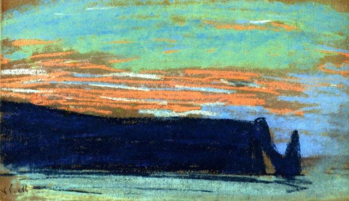 Claude Monet. Étretat, the Arch, and the Aval cliff d