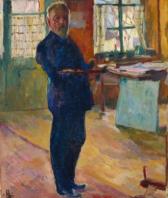 Giovanni Giacometti. Self portrait in the Studio