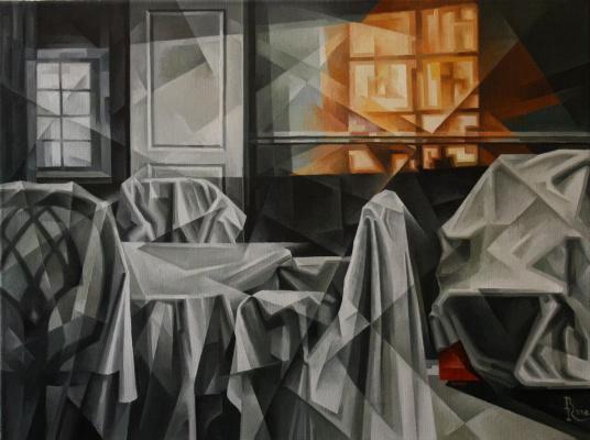 Vasily Krotkov. Empty house. Kubofuturizm