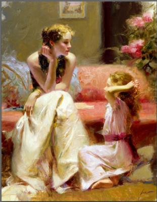 Пино Даени. Девушка, сидящая на диване общается с ребенком
