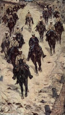 Джованни Фаттори. Кавалерийский полк на деревенской улице