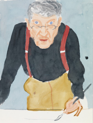 David Hockney. Self-portrait in red suspenders