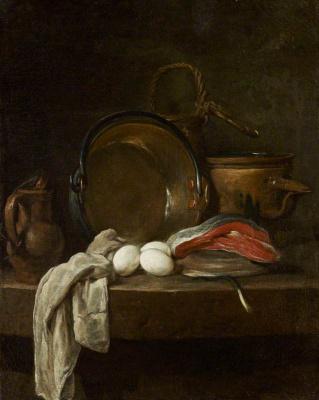 Жан Батист Симеон Шарден. Натюрморт с рыбой, яйцами и посудой на кухонном столе
