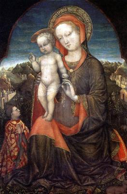 Якопо Беллини. Мадонна с Младенцем и с донатором Лионелло д' Эсте