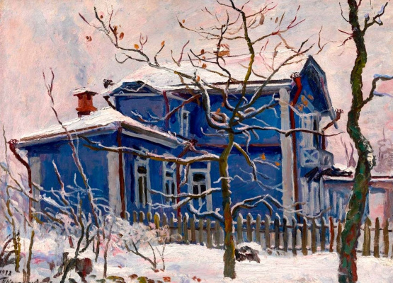 Petr Petrovich Konchalovsky. First snow. Blue cottage