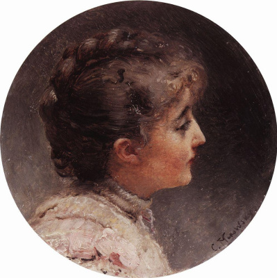 Konstantin Makovsky. Head. Portrait of Mrs. Vivian, wife of actor and Director L. S. Vivien