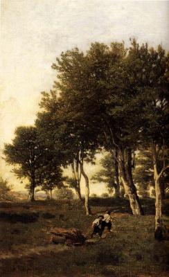 Анри-Жозеф Харпигниес. Пейзаж с двумя мальчиками