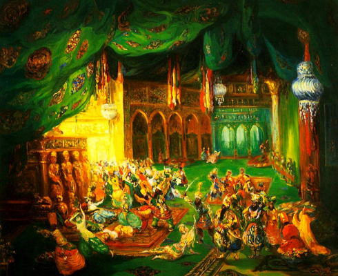 "Lev (Leon) Bakst. A sketch of the scenery for the ballet ""Scheherazade"" to music N. Rimsky-Korsakov"