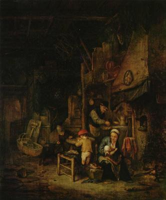 Адриан Янс ван Остаде. Крестьянское семейство в комнате