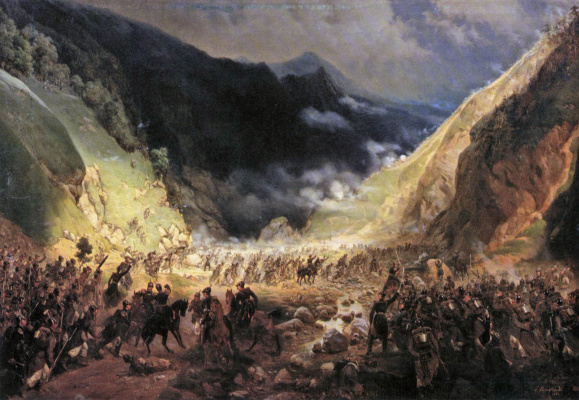 Bogdan Pavlovich Willewalde. Fight in the Rotenturm gorge. 1871