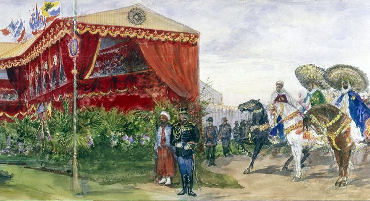 Павел Яковлевич Пясецкий. Арабская конница возле трибуны для почетных гостей