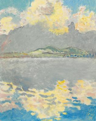 Cuno Amiè. Lake Thun with Stockhorn, Wolkentag