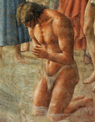 Tommaso Masaccio. Brancacci Chapel. Neophyte baptism. Fragment