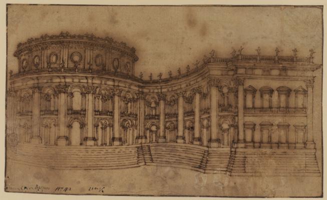 Джованни Лоренцо Бернини. Лувр, восточный фасад. Эскиз первого проекта