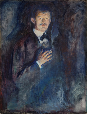 Self-portrait with a lit cigarette