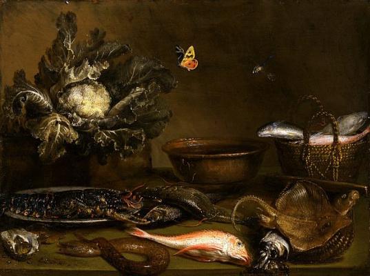 Otto Marceus van Scriec. Still life with fish and cauliflower
