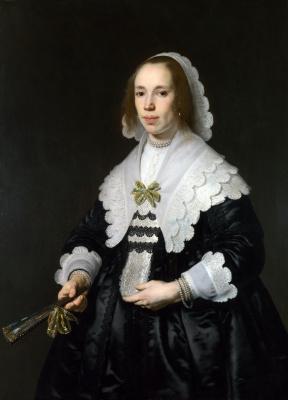 Бартоломеус ван дер Гельст. Портрет дамы в черном с веером