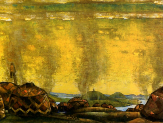"""Nicholas Roerich. The Polovtsian camp. A sketch of the scenery for the second act of Borodin's Opera """"Prince Igor"""""""