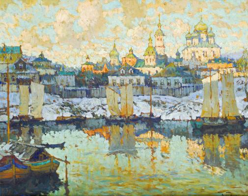 Константин Иванович Горбатов. Вид гавани на закате. 1919