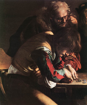Michelangelo Merisi de Caravaggio. The calling of St. Matthew. Fragment