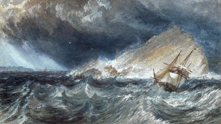 Joseph Mallord William Turner. Ship in Chayachiy cliff Bay, Plymouth Sound (fragment)