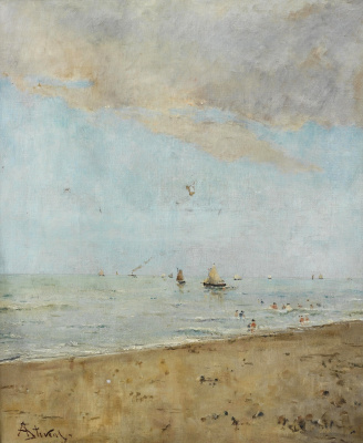 Alfred Emil-Leopold Stevens. Bathers and sailing boats.
