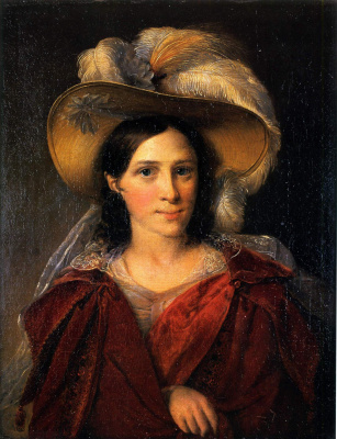 Vasily Andreevich Tropinin. Portrait of an unknown woman in a red drape (Baroness Wimpfen?)