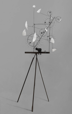 Jean Tangley. Metamechanical sculpture with a tripod