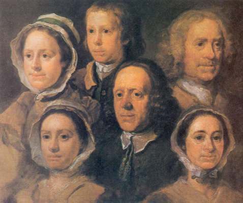 William Hogarth. Portrait of six servants