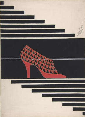 "Romain Tirtoff. Design red shoes with triangular pattern for the brand ""Delman"""