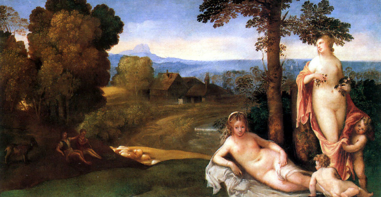 Giorgione. Nymphs, children and shepherds against the backdrop of the landscape