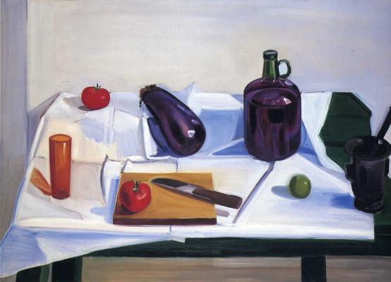 Натюрморт с овощами, стаканом и бутылем