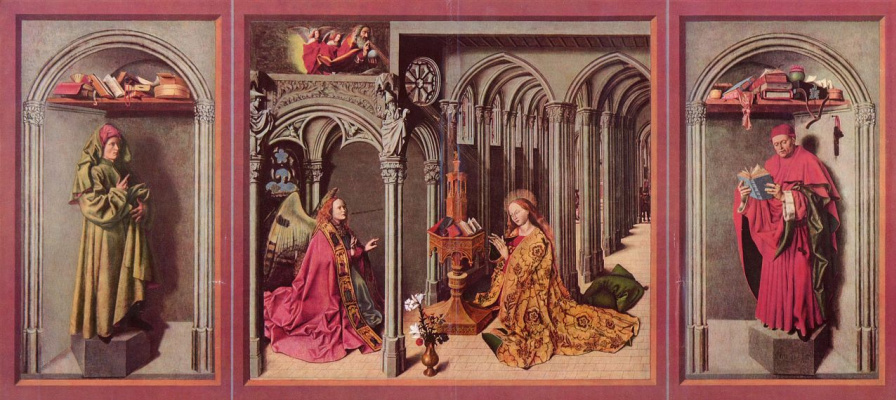 Barthelemy d ' Eyck. The altar of the Annunciation, left wing, inner side down: Jesus, the middle part: the Annunciation of Mary