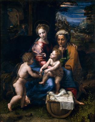 Рафаэль Санти. Мадонна с младенцем, Иоанном Крестителем и Св. Анной (Жемчужина или Мадонна ла Перла)