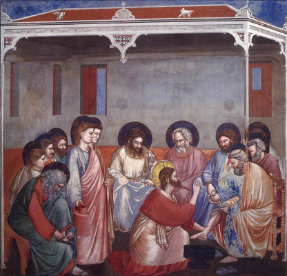 Giotto di Bondone. Foot washing. Scenes from the life of Christ